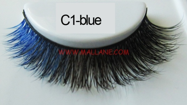 Colored Mink Strip Lashes C1-blue